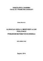 prikaz prve stranice dokumenta Alokacija vozila u mreži rent-a-car poslovnica primjenom matematičkog modela