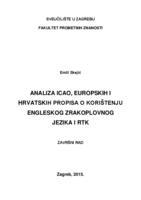prikaz prve stranice dokumenta Analiza ICAO, europskih i hrvatskih propisa o korištenju engleskog zrakoplovnog jezika i RTK